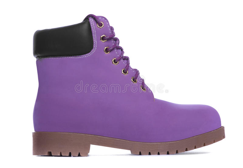 Purple boot. Side view stock photography