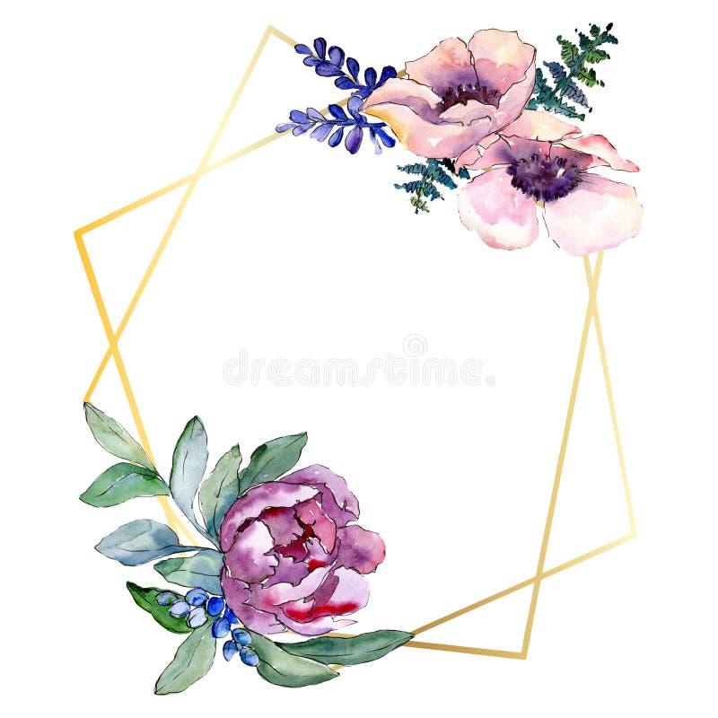 Purple bouquet floral botanical flower. Watercolor background illustration set. Frame border ornament square. Purple bouquet floral botanical flower. Wild stock image