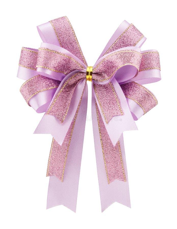 Purple bow ribbon isolated on white background