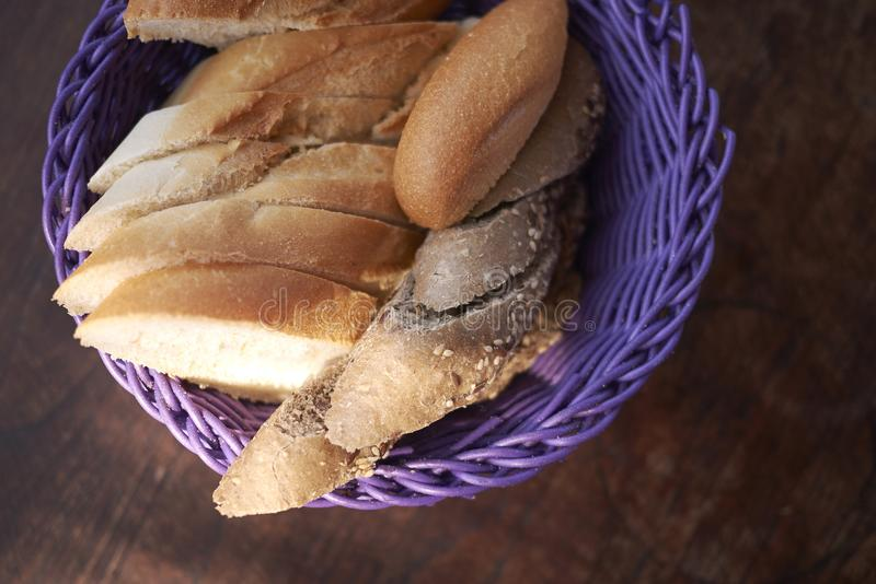 Purple Bread basket stock images