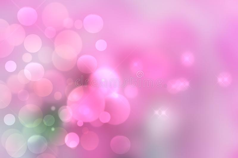 Purple bright abstract bokeh. Purple and pink gradient glowing background with bright blurred circles and glittering stars. vector illustration