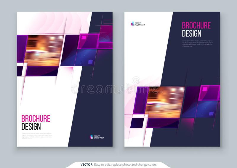 Purple Brochure Cover template layout design. Corporate business annual report, catalog, magazine, flyer mockup stock illustration