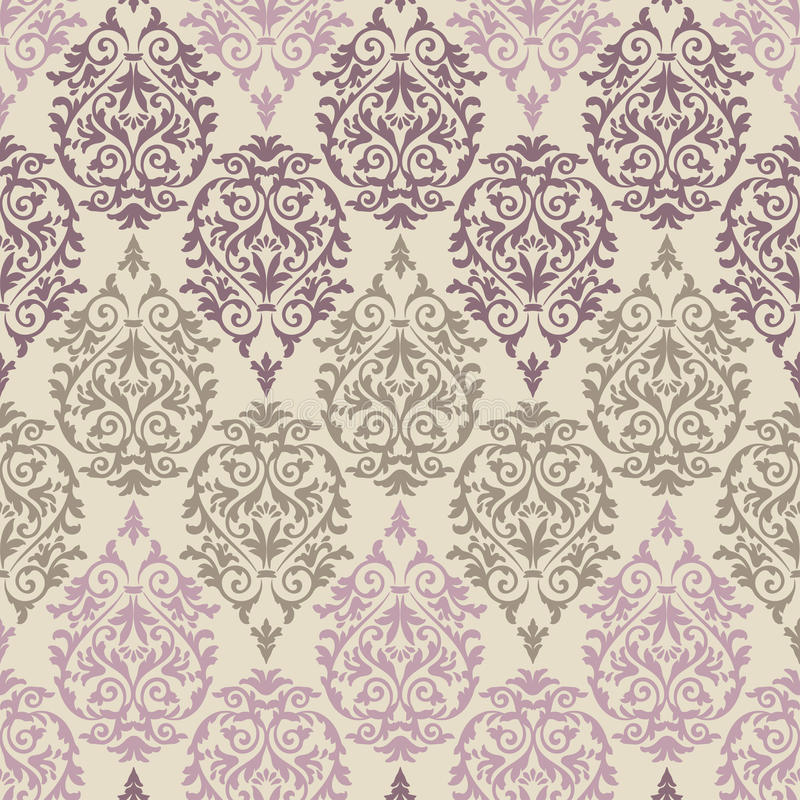 Purple, brown and pink baroque pattern stock illustration