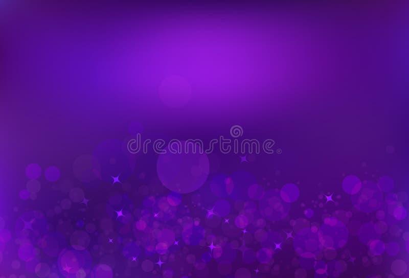 Purple bubble air magic stars dust light shiny blinking glitter. Fantasy blurry circle luxury abstract background royalty free illustration