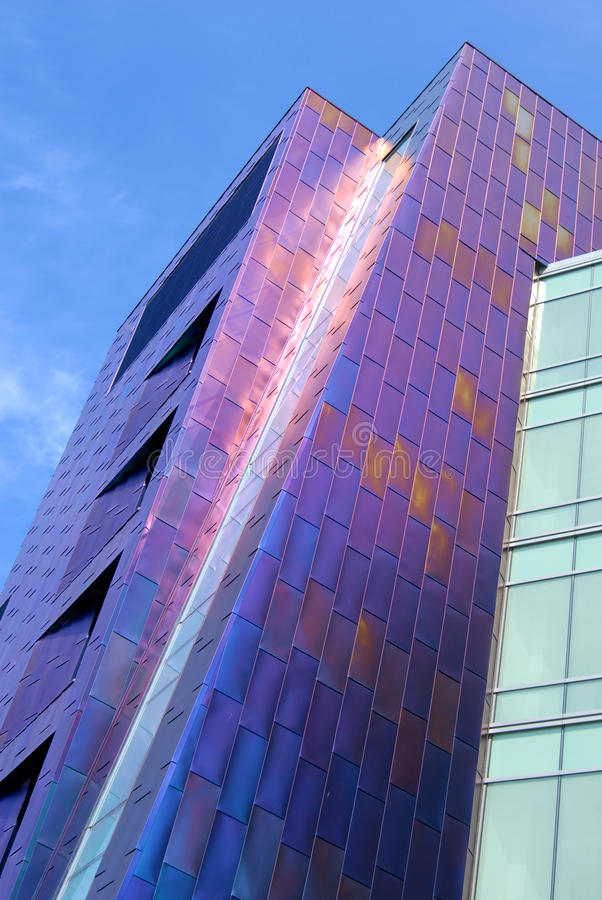 Purple building exterior. Modern day building with a purple exterior stock images