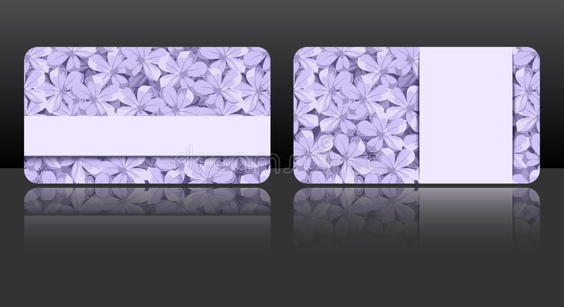 Purple business cards with floral patterns. Vector eps-10. royalty free illustration
