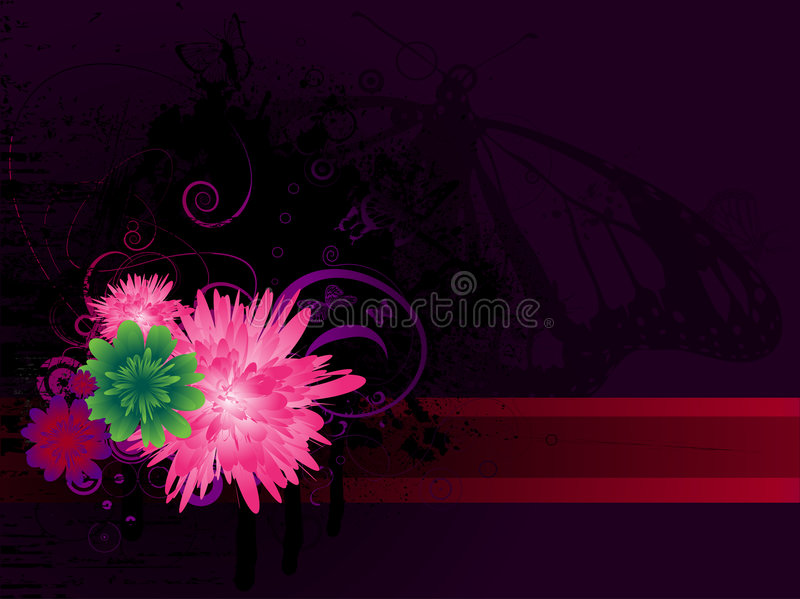Purple butterfly and floral. A purple floral background with a butterfly stock illustration