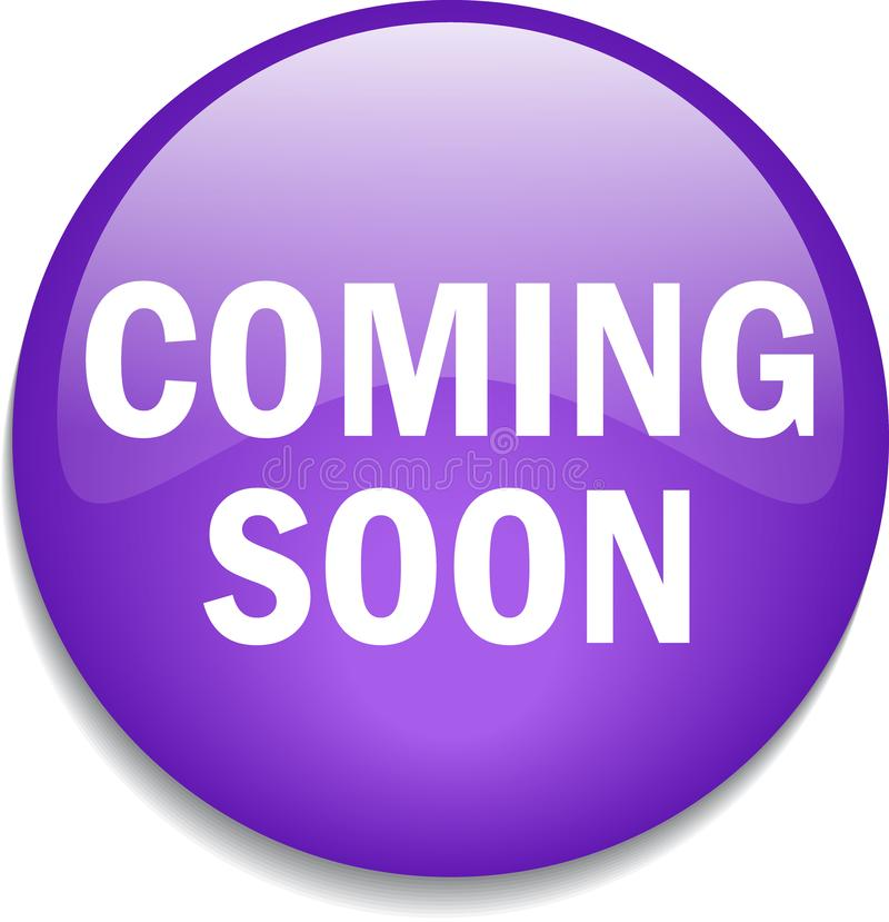 Coming soon button. Vector illustration - glossy shiny web button - isolated on white background stock illustration