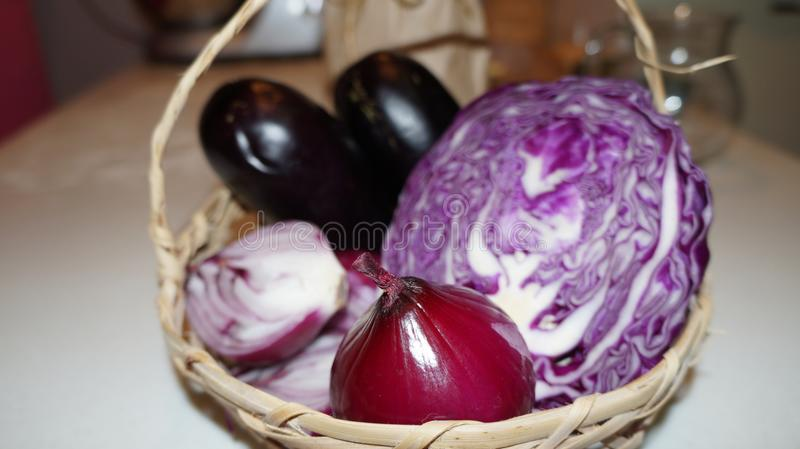Purple cabbage and red onion. Close up of sliced purple cabbage and red onion royalty free stock photography