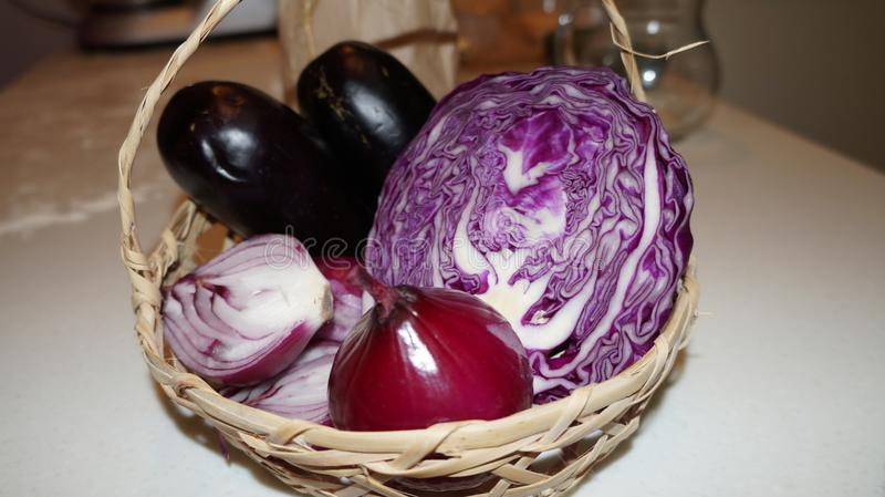 Purple cabbage and red onion. Close up of sliced purple cabbage and red onion royalty free stock photo