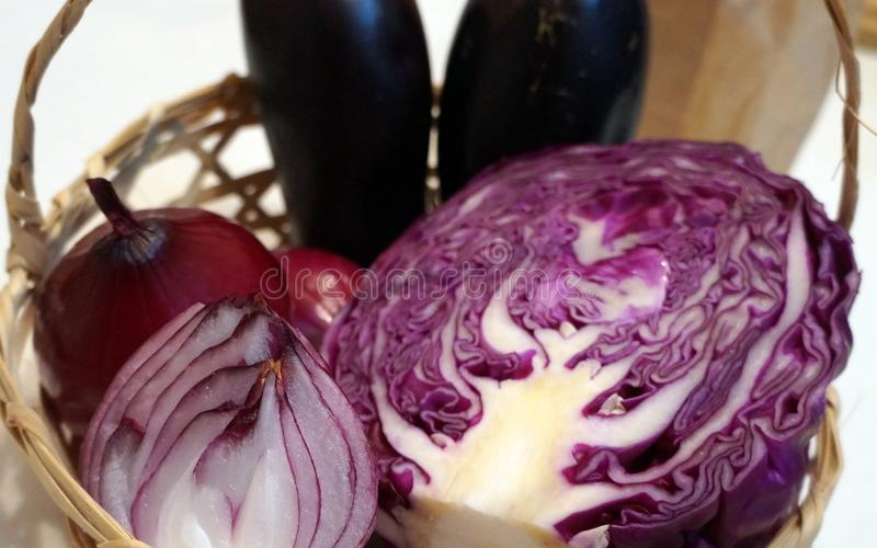 Purple cabbage and red onion. Close up of sliced purple cabbage and red onion stock photo