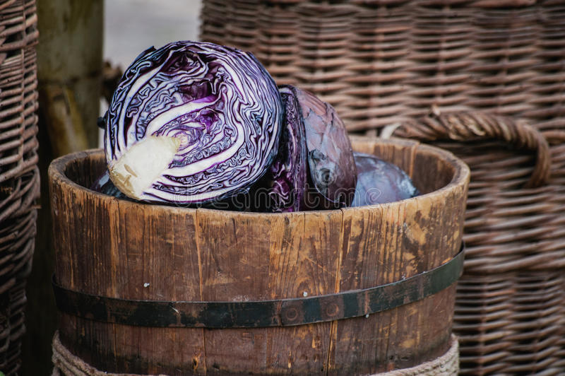 Purple cabbage sold at market place royalty free stock photography