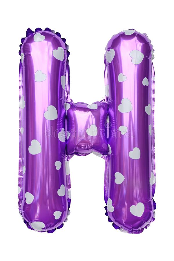 Purple Capital H alphabet inflatable balloon isolated on white background. Decoration element for birthday party stock photos