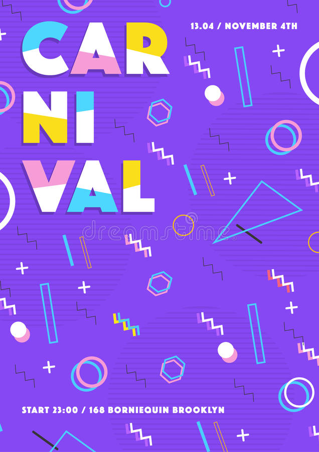 Purple carnival poster. abstract memphis 80s, 90s style retro background with place for text. vector illustration