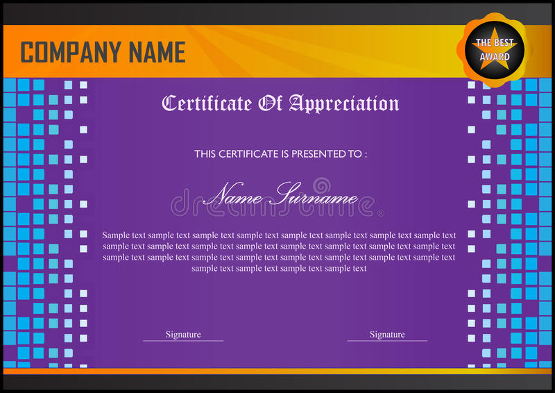 Purple certificate appreciation template stock vector download purple certificate appreciation template stock vector illustration of modern black 74845767 yadclub Choice Image