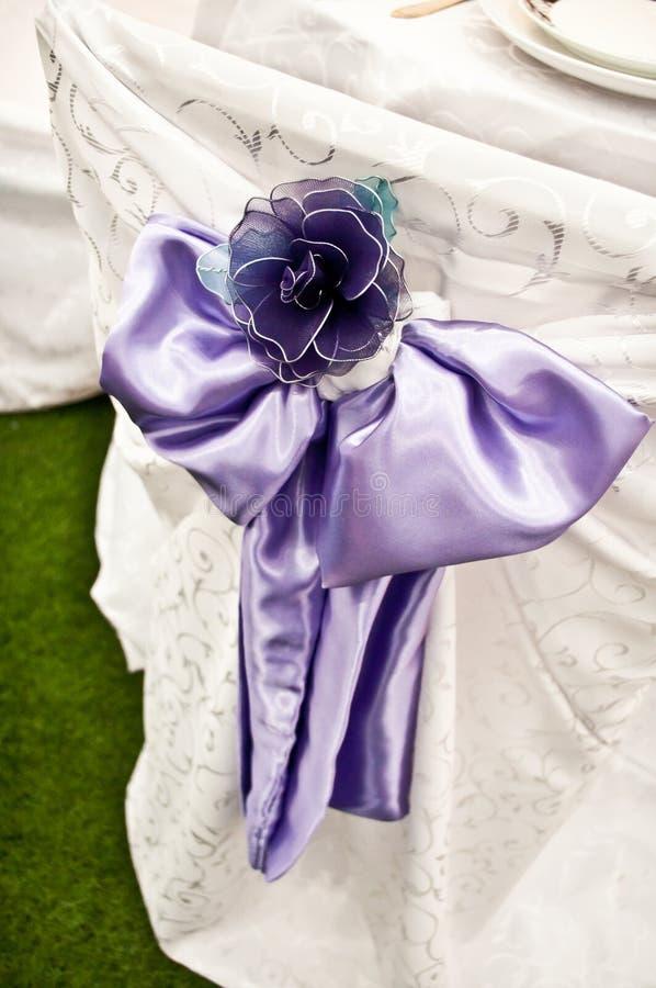 Purple Chair Wedding Bow Stock Photos