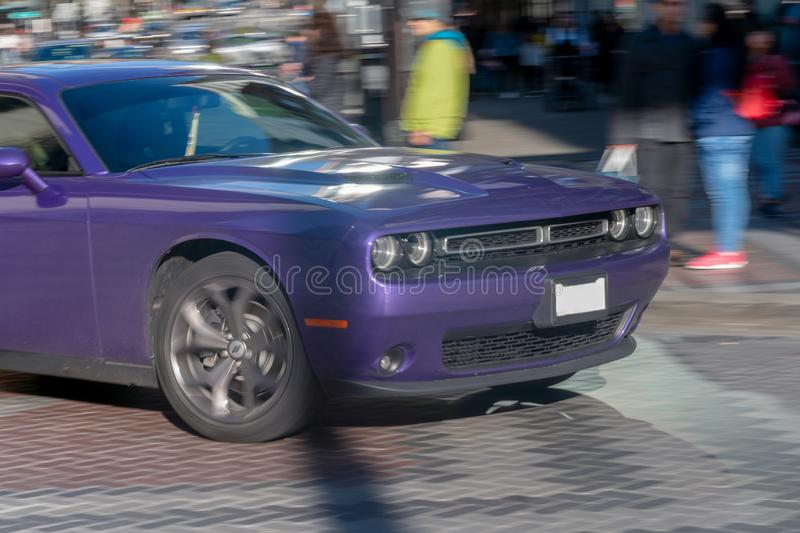 Purple Challenger in movement. Seattle, Washington - 2019-03-02 - Purple Challenger being driven in Seattle`s downtown street stock photography