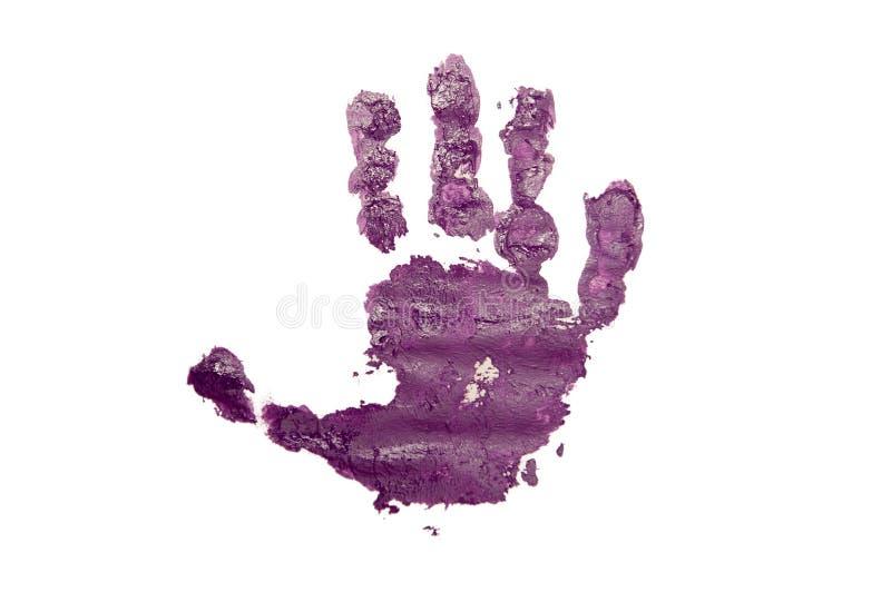 Purple Child's Handprint on White royalty free stock photo