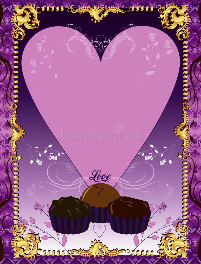 Download Purple Chocolate Card stock vector. Image of heart, duotone - 18030019