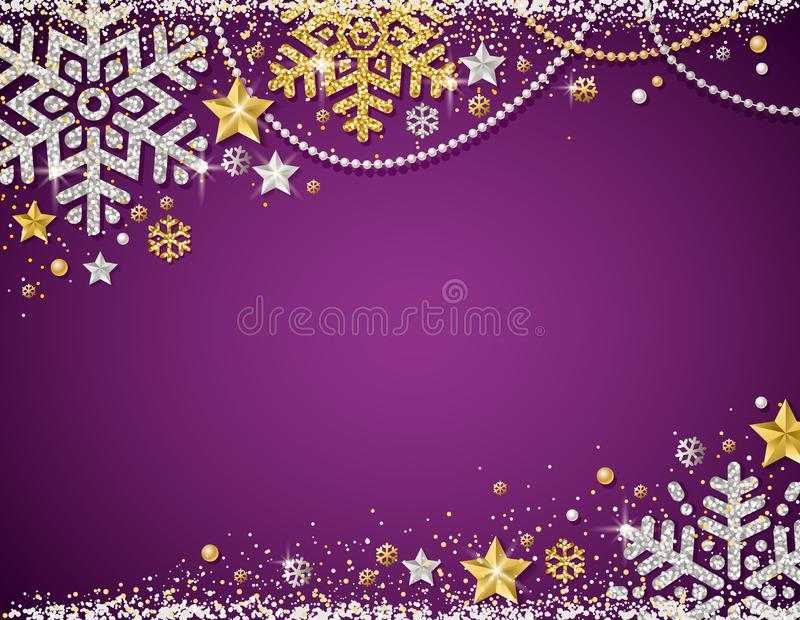 Purple christmas background with frame of golden and silver glittering snowflakes, stars and garlands, vector illustration stock illustration