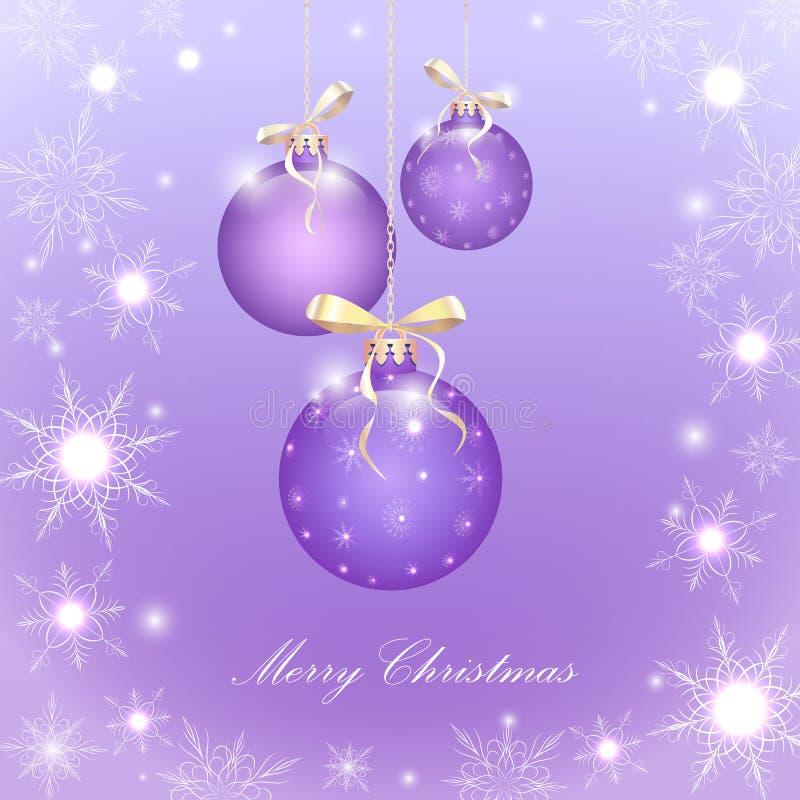 Purple Christmas balls stock image