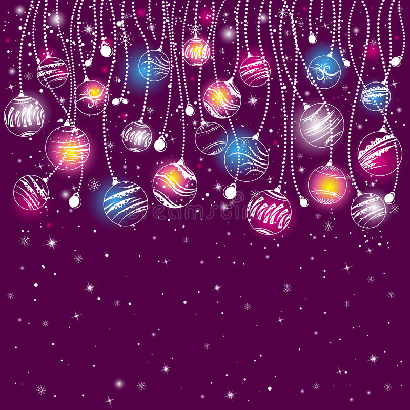 Purple christmas card, vector vector illustration