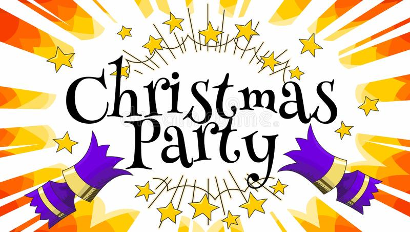 Purple christmas cracker pulled apart with christmas party text manga rays and gold stars vector illustration