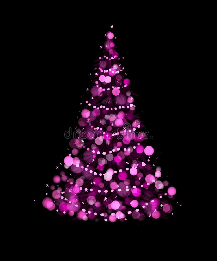 download purple christmas tree on black background stock illustration image 61715379 - Purple Christmas Tree