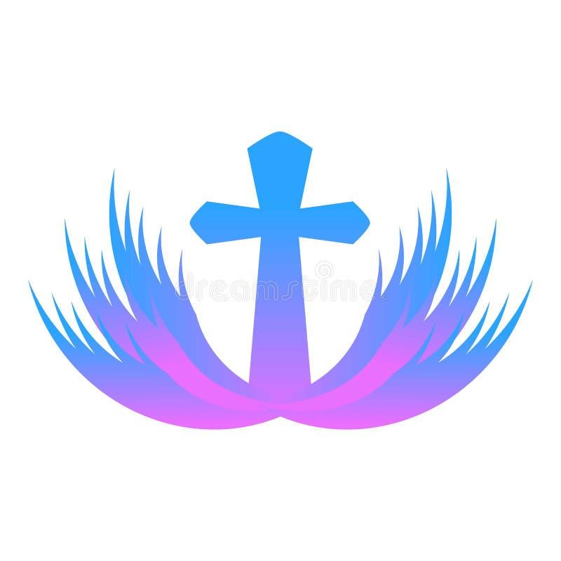 Purple church icon, cartoon style vector illustration