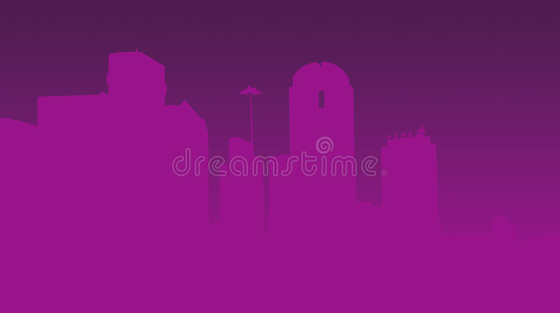 Purple city skyline vector illustration