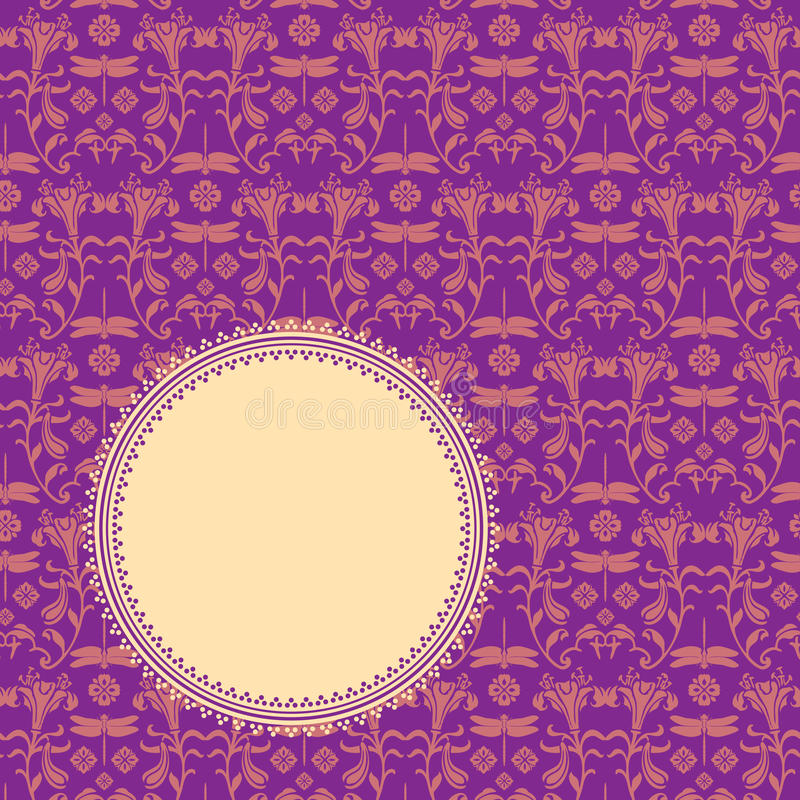 Purple classical oriental floral round banner royalty free illustration