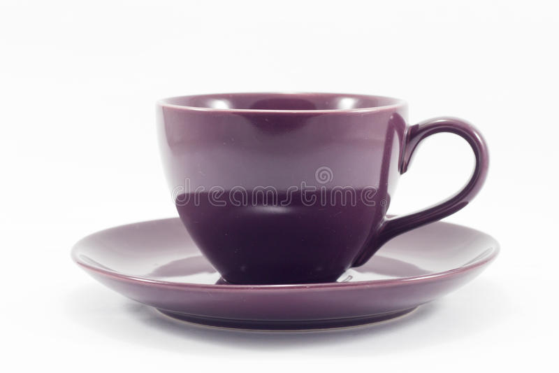 Purple coffee cup on white background. Stock photo stock photo
