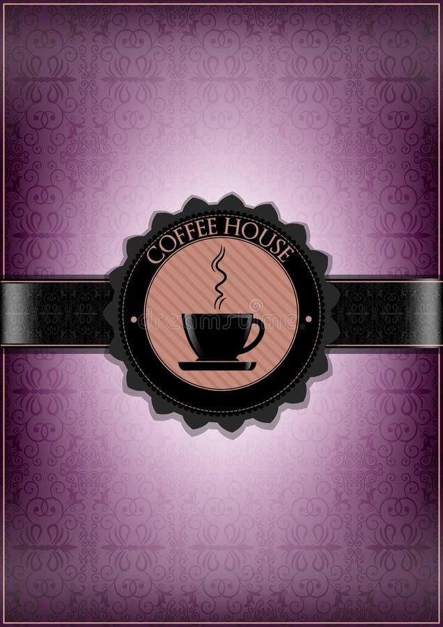 Purple coffee house menu design royalty free illustration