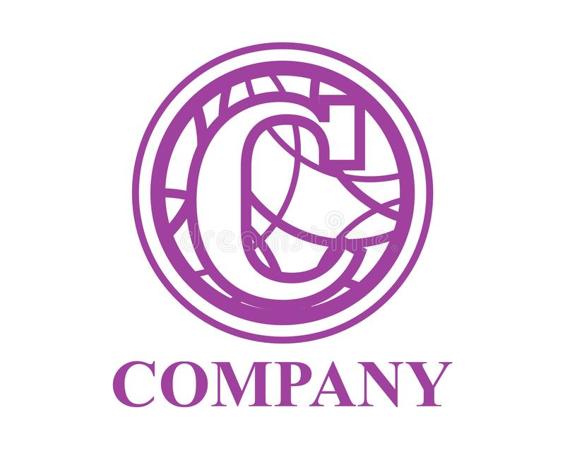 Circle curvy c. Purple color logo symbol type letter c initial business logo design idea illustration shape in circle with beautiful curvy oval line art for stock illustration