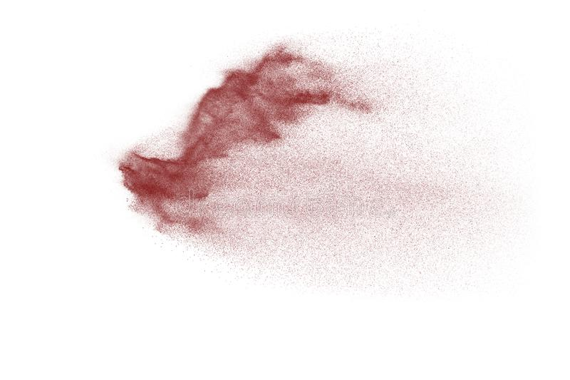Purple color powder explosion cloud isolated on white background. stock images