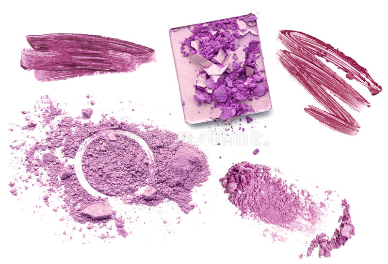 Purple color tone make up cosmetic product. Powder lipgloss and eyeshadow stock photos