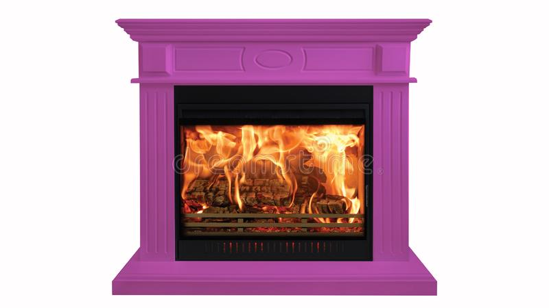 Purple colorful burning classic fireplace isolated on white background royalty free stock image