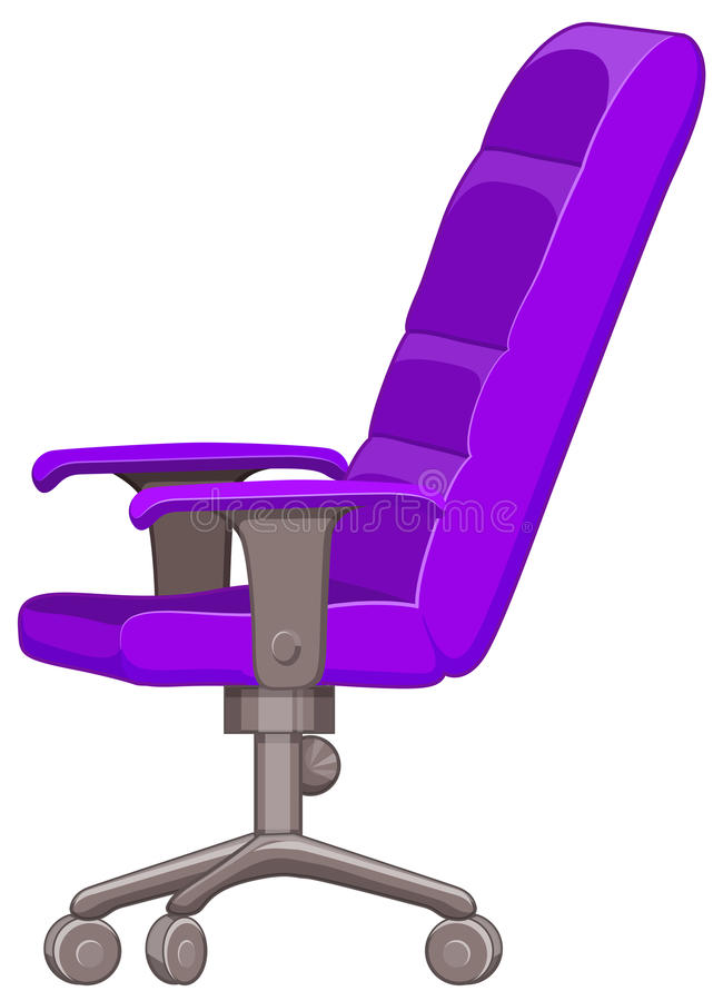 Purple computer chair with wheels royalty free illustration