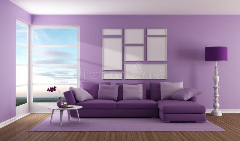 Purple contemporary living room royalty free illustration