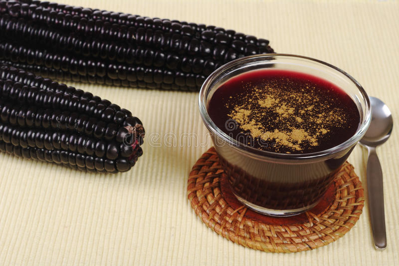 Purple Corn Jelly. A jelly-like dessert out of Peruvian purple corn with cinnamon on top (Selective Focus stock photo