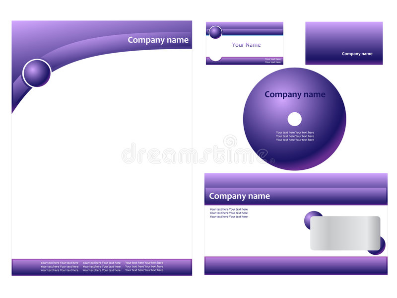 Download Purple corporate identity stock vector. Image of letterhead - 7989358