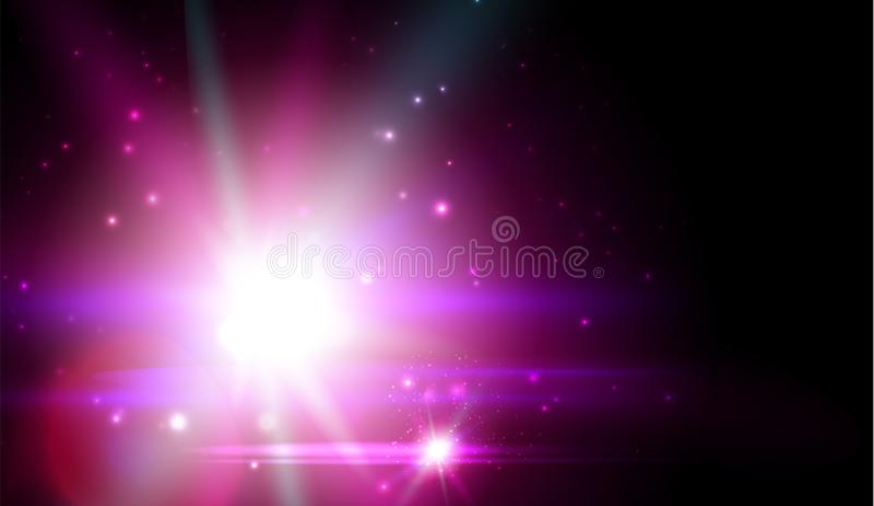 Purple cosmic star, bright flash, galaxy luminescence. Space nebula illustration, astronomy, universe on black cosmic. Background. Business banner for web vector illustration