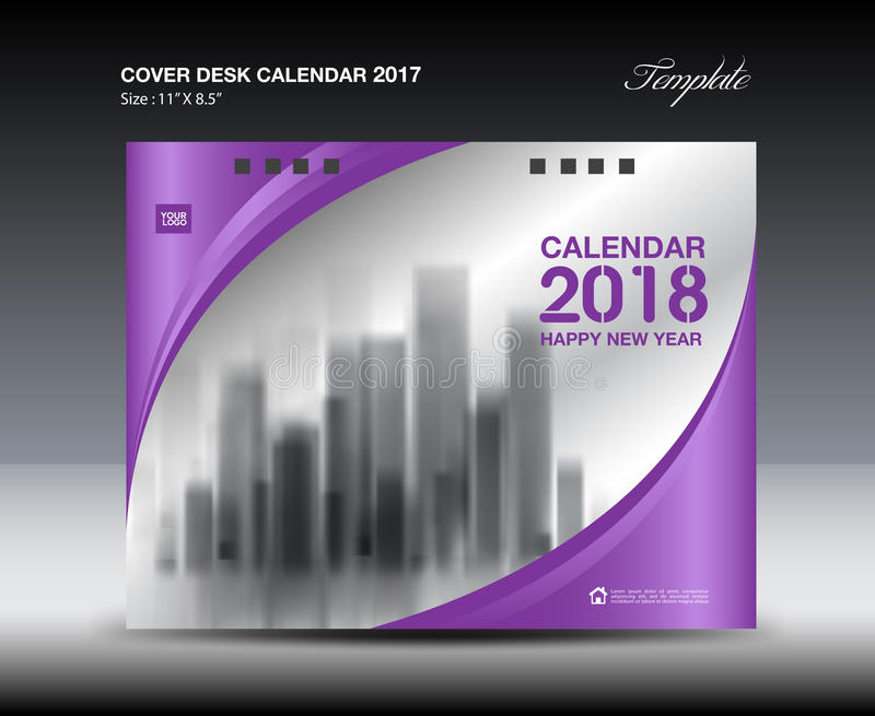 Purple Cover Desk Calendar  Design Flyer Template Ads Stock