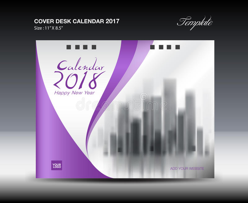 Purple Cover Desk Calendar  Design Flyer Template Stock Vector