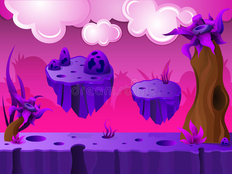 Purple Crater Land Game Design. With platforms and clouds in sky on pink background vector illustration vector illustration