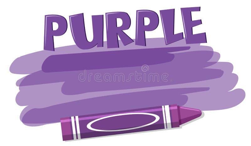 A purple crayon on white background. Illustration stock illustration