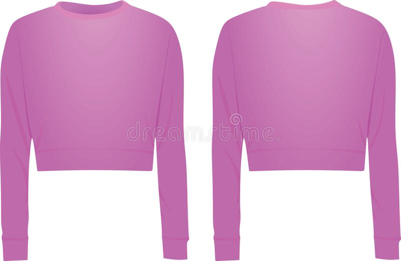 Purple crop sweater, front and back view. Vector royalty free illustration