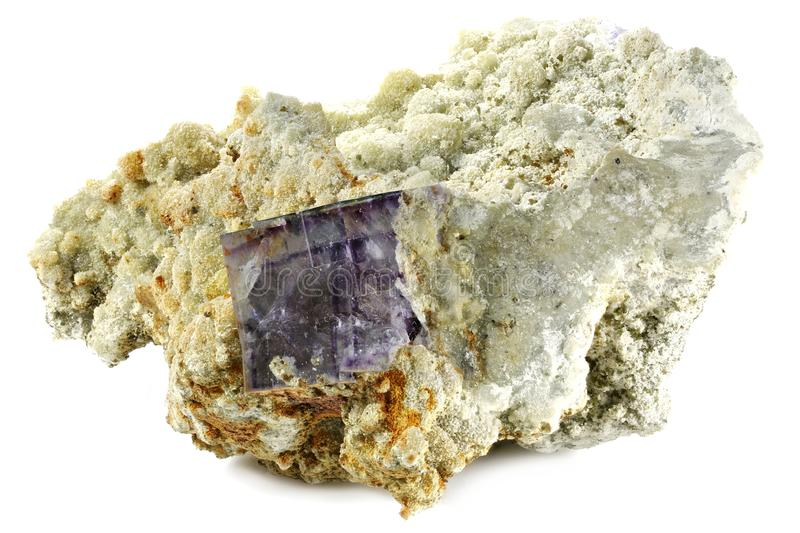 Fluorite. Purple cube fluorite from Yaogangxian, China isolated on white background royalty free stock image