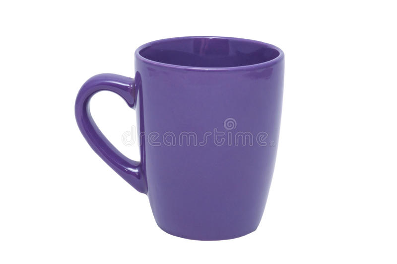 Purple cup. Close-up of purple cup of porcelain on a white background stock image