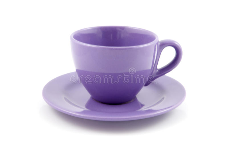 Purple cup of coffee. Isolated on white background stock image